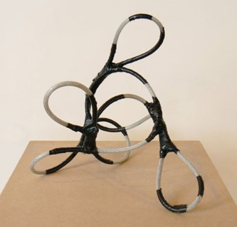 """small fry"", plastic coated cable, electrical tape, custom MDF plinth, 2009"