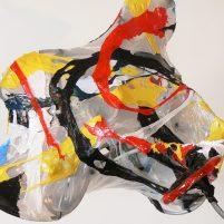 """kick it"", melted plastic, steel cable, plastic ties, 2009"