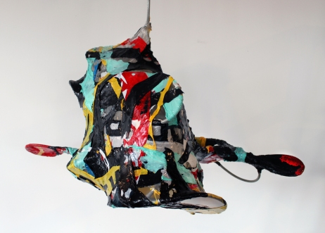 """gremlin"", melted plastic, steel cable, plastic ties, 2009"